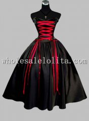 Gothic Black and Red Sleeveless Satin Lace Up Victorian Prom Dress