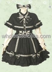 Black Long Sleeves Multi layer Cotton Sweet Lolita Dress
