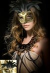 Brown Feather Masquerade Mask