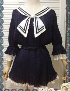 Dark Blue Chiffon Japanese Sailor Collar Pleated Dress