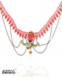 Beautiful Red Lace Necklace with Rose and Ruby Pendant for Wedding Prom