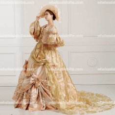Top Sale European Royal Gorgeous Marie Antoinette Tail Brocade Prom Dresses