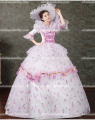 Classic 18th Century Marie Antoinette Inspired Dress Wedding Masquerade Gown Reenactment Pink 01