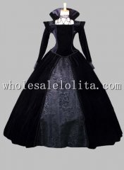 Historical Black Gothic Victorian Queen Costume Theatre Costume Reenactment Clothing