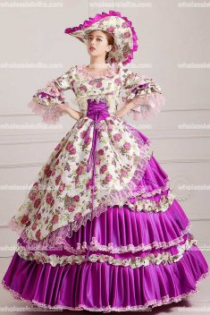18th Century Rococo Style Marie Antoinette Inspired Prom Dress Wedding Ball Gown Pruple