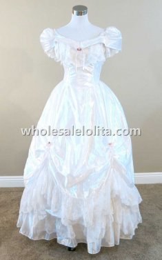 19th Century White Ruffled Lace Victorian Civil War Period Dress Wedding Masquerade Ball Gown