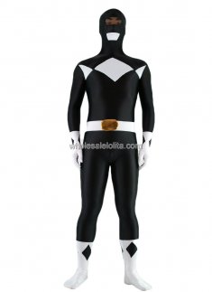 Black And Silver Spandex Shiny Metalic Costume