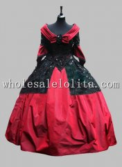 Deluxe Wine Red Satin & Sequin Victorian Ball Gown Venice Carnival Costume