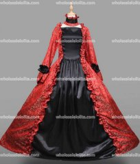 18th Century Period Dress Gothic Black and Red Marie Antoinette Gown Reenactment Theater Clothing