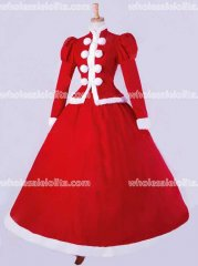 Top Sale Fate/Unlimited Red Velvet Gothic Period Dress Masquerade Ball Gown Reenactment Theatre Costume