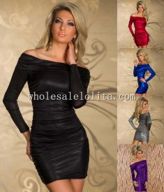 Off the Shoulder Long Sleeves Leather Club Dress