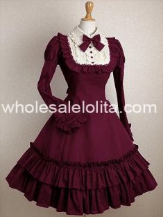 Classic Cheap Burgundy Long Sleeves Ruffle Cotton Class