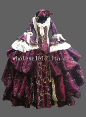 Purple Europe Historical Costume Pleuche Venice Carnival Masquerade Costume Ball Gown
