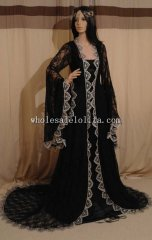 Renaissance Medieval Victorian Fantasy Vintage Black Handfasting Wedding Dress Custom Made