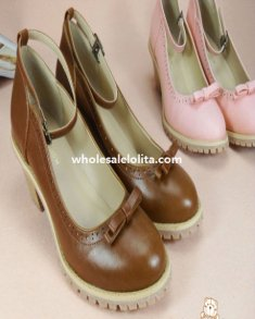 Vintage British Fashion Sweet Bow Chunky Heel Ladies Lolita Shoes