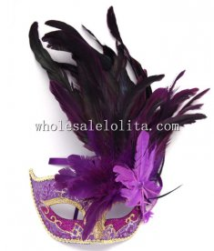 Beautiful Carnival Venetian Masquerade Masks with Feather for Women