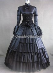 Gothic Black Satin and Cotton Victorian Dress Halloween Costume Gown