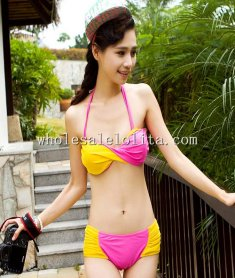 Beach Yellow and Pink Sexy Twist Bandeau Top & Hight Waist Bottom Bikini