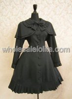 Black Long Sleeves Bow Cotton Lolita Dress