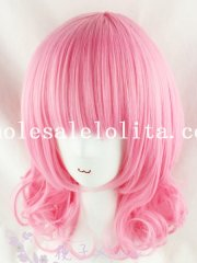 Fashion Cosplay Anime Short Curly Pink Hair Wig