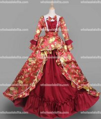 18th Century Rococo Dress Wine Red Marie Antoinette Victorian Dress Prom/Wedding Dress Ball Gown