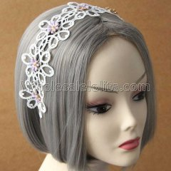 White Lace and Flowes Vintage Headband Masquerade Accessories