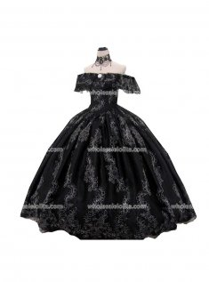 Top Sale 18th Century Marie Antoinette Black Victorian Dress Wedding Dress Ball Gown