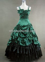 Spaghetti Green and Black Victorian Lolita Dress Wedding Southern Belle Gown Prom Dress