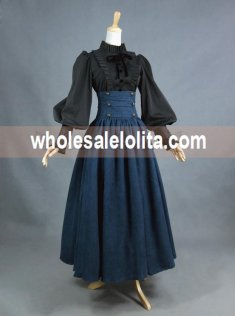 Vintage High Waist Long Victorian Skirt