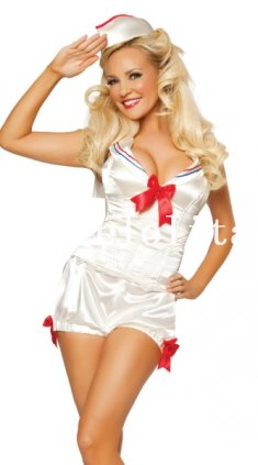 Halloween Sexy White Lady Sailor/Navy Costume Party Dress Night Wear