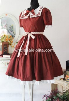 Purplish Red Short Sleeves Cotton OP Sailor Lolita Dress