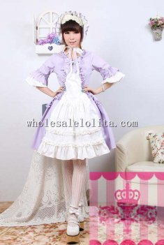 Sweet Violet and White Three Quarter Sleeves Lolita Dress