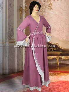 Natural Muslin Cotton Handmade Medieval Maiden Gown Costume Renaissance Clothing