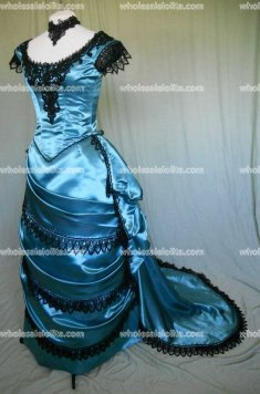 Victorian Style Bustled Ball Gown in Teal Satin with Black Lace