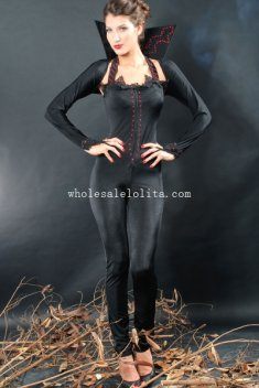 Halloween Black Lady Vampire Costume Jumpsuits