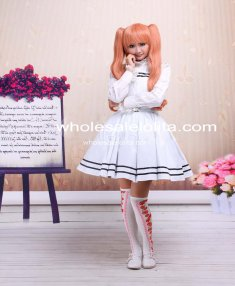 Stylish White Cotton Sailor School Lolita Dress