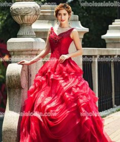 Fashion Red A-Line Floor Length V-Neck Sexy Costumes Long Prom Dress