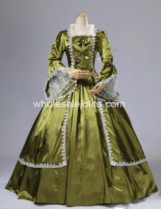 18th Century Olive Satin Marie Antoinette Period Dress Ball Gown/Performance Clothing