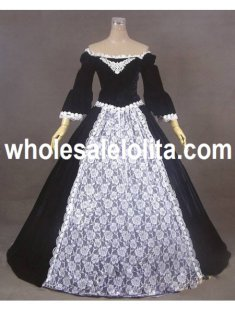 Black Off-the-Shoulder Velvet Lace Victorian Ball Gowns