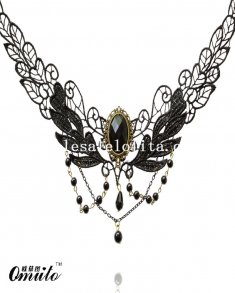 Black Gem Pendant Chain Flower Black Lace Necklace