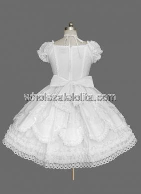 Pure White Sleeveless Bow Cotton Sweet Lolita Dress