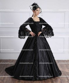 18th Century Black Belle Gown Victorian Period Prom Dress