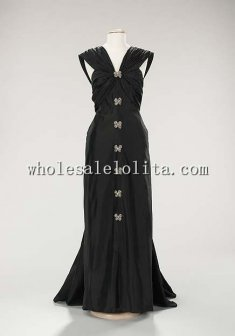 Custom Made Late 1940s French Silk Rhinestone Black Evening Dress