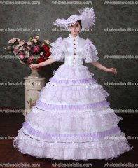 Purple Lace Vampire Masquerade Ball Dress Civil War Southern Belle Ball Gown Marie Antoinette 18th Century Costume