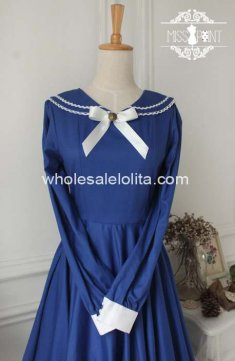 Vintage Royal Blue School Long Sleeves Sailor Lolita Dress