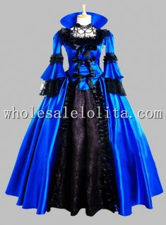 Deluxe Black & Blue Gothic Renaissance Queen Costume/Carnival Themed Costume