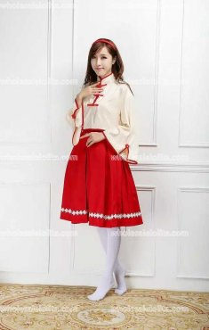 Cheongsam Red/Sky Blue Skirt Cosplay Costumes