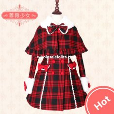 Christmas Red and Black Tartan Lolita Coat with Detachable Cape