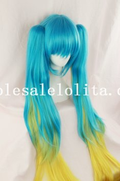 Blue/Yellow Mix-color Heat Resistant Anime Cosplay Long Straight Hair Wig