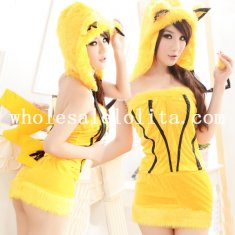 Halloween Lovely Yellow Pikachu Animal Costume For Women